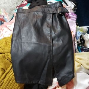 wrapped faux leather skirt